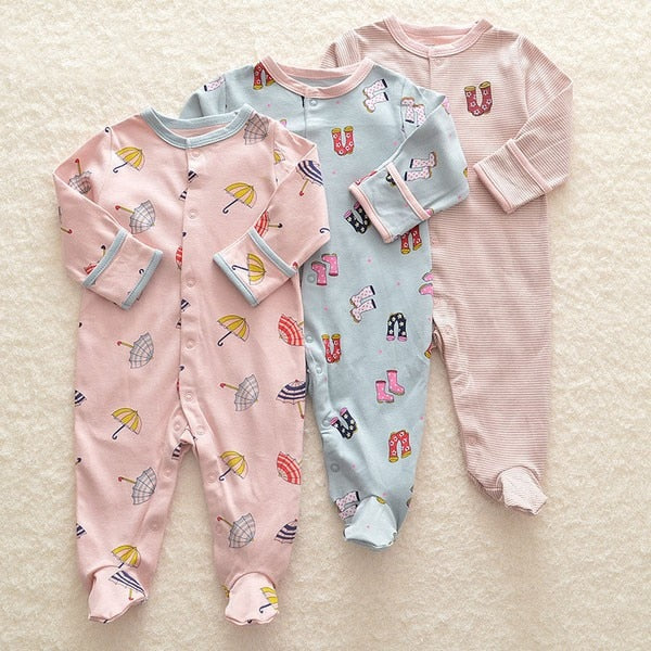 Baby Girl Romper 3pcs Newborn Sleepsuit Flower Baby Rompers 2018 Infant Baby Clothes Long Sleeve Newborn Jumpsuits Baby Pajamas-eosegal