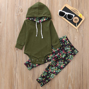 2018 Hot baby Autumn new baby boy clothes Children Baby Girls Long Sleeve Hooded Romper+Floral Print Pants Set clothing set-eosegal