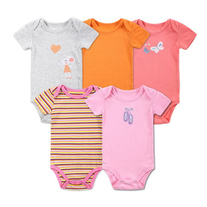 5 Pcs/lot Retail Baby Girl Clothes Cartoon Baby Bodysuit Girl Boy 0-12M Infant Short Sleeve Creeper Baby Boy Girl Body Suit-eosegal