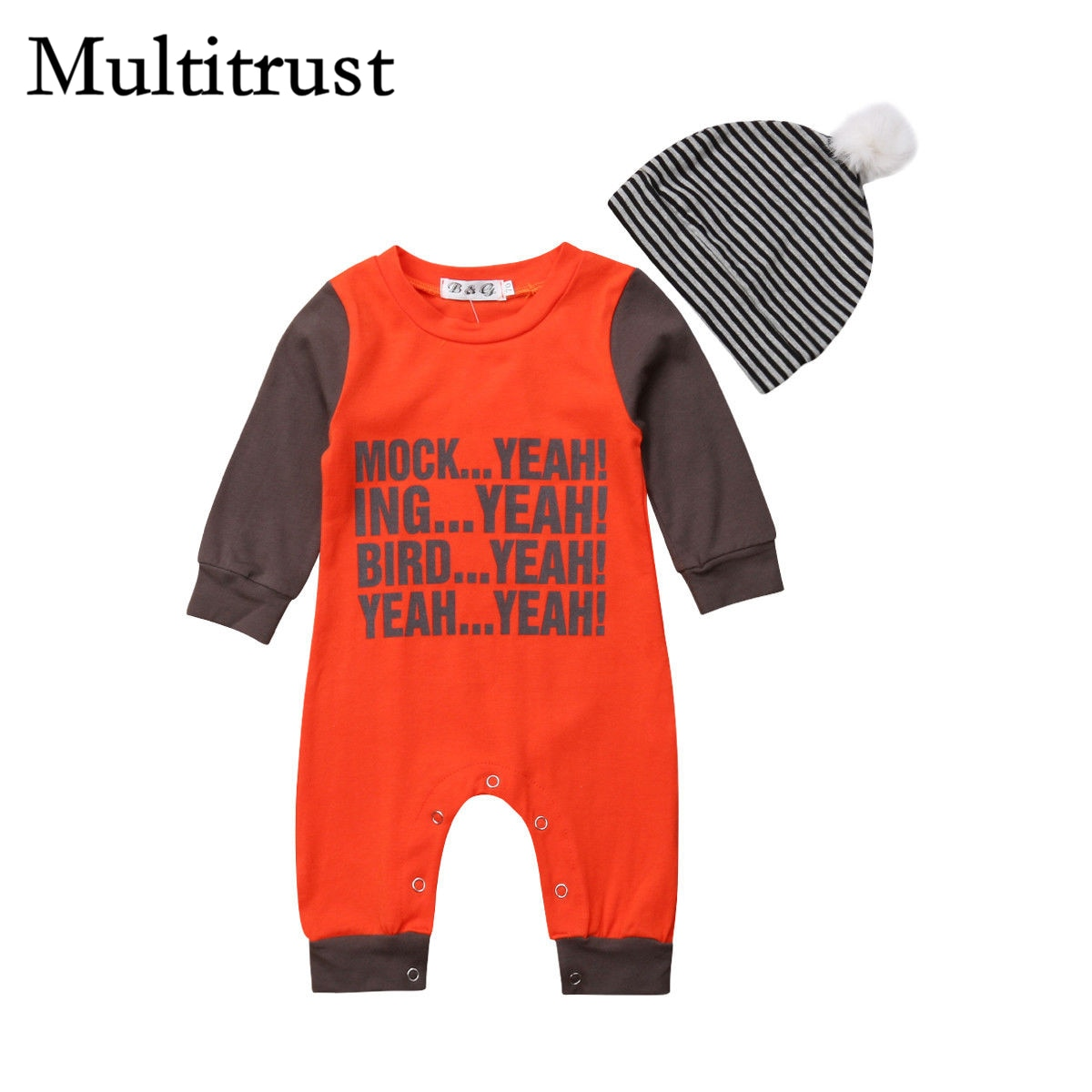 2018 Multitrust Brand Newborn Baby Boy Girl Jumpsuit Letters Romper+Striped Caps Patchwork Clothes Autumn Orange Outfits-eosegal