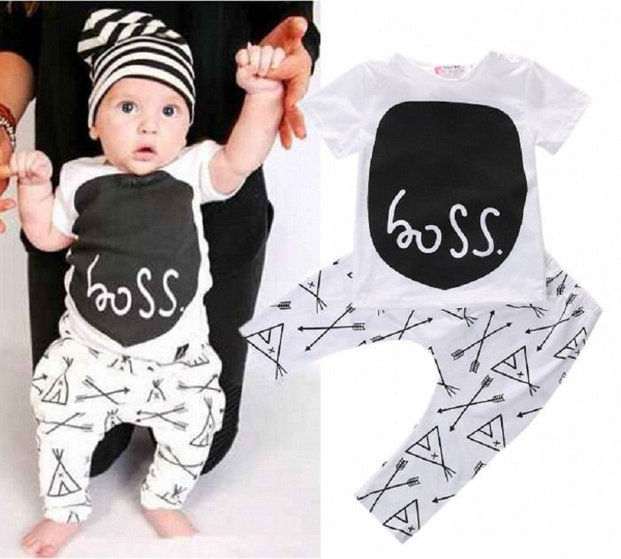 Baby Boys Girls Clothes Sets Cute Cartoon Letter Outfits Newborn T Shirt+Trousers Vetement Enfant Fille Garcon-eosegal