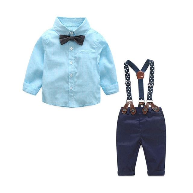Baby Boy Clothing Set Autumn Newborn birthday wedding gentleman suit Long Sleeve Bow tshirt+Suspenders Pants Kids cotton Clothes-eosegal