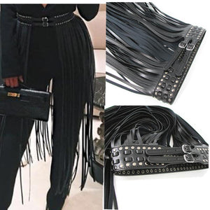 Europe fashion Punk rivet wearing rope long tassel girdle female Black Leather Belt wild for women High Waist belt Decorative-eosegal