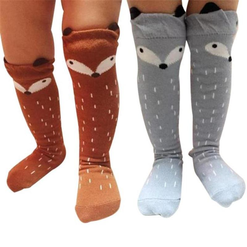 #5505 Toddlers Kids Girls Fox Pattern Knee High Socks For Age 1-3 Years-eosegal