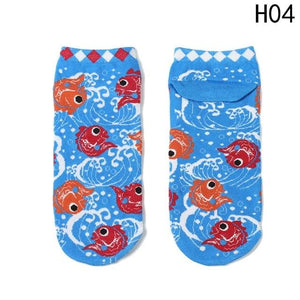 Women Cartoon Socks Creative Printing plutus cat Fish Sushi Pattern Funny Socks Calcetines Japan Fashion Harajuku Cute Socks Hot-eosegal