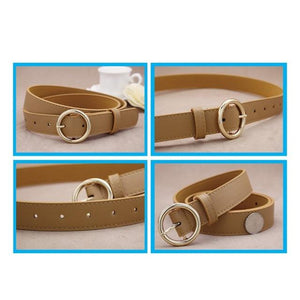 7 Colors Fashion Gold Round Buckle Belts Female Leather Strap Belts for Women Clothing wide Of Waist Cummerbunds Ladies Girdles-eosegal