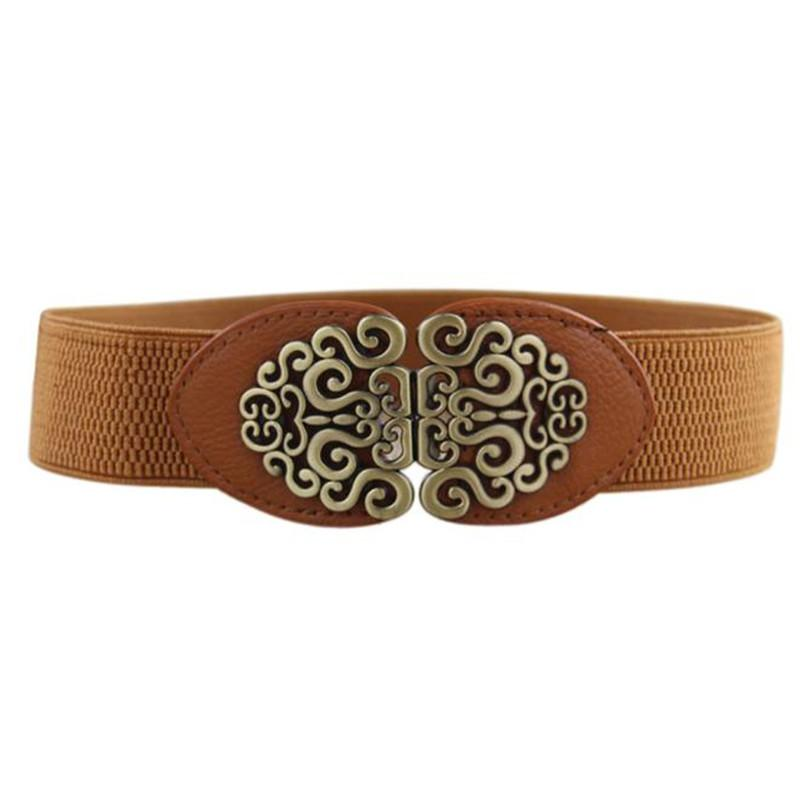 #4522 Women Alloy Flower Vintage Leather Belt Palace retro carved wide belt Straps-eosegal