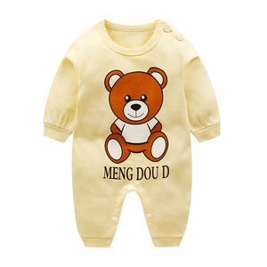 Fun Orange Spring Autumn Newborn Infant Baby Boy Girl Cotton Romper Cartoon Printed Short Sleeve Jumpsuit Kids Clothes Outfit-eosegal