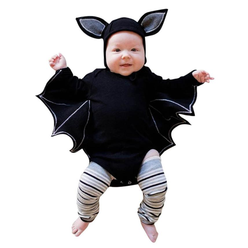 #4 2018 NEW Fashion Toddler Newborn Baby Boys Girls Halloween Cosplay Costume Romper Hat Outfits Set Novelty Batwing Sleeve-eosegal