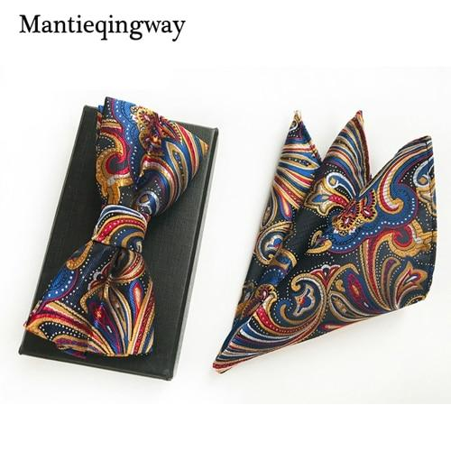 Polyester Neck Tie Set Business Suits Handkerchief Bowtie Dot Pocket Squareeosegal-eosegal