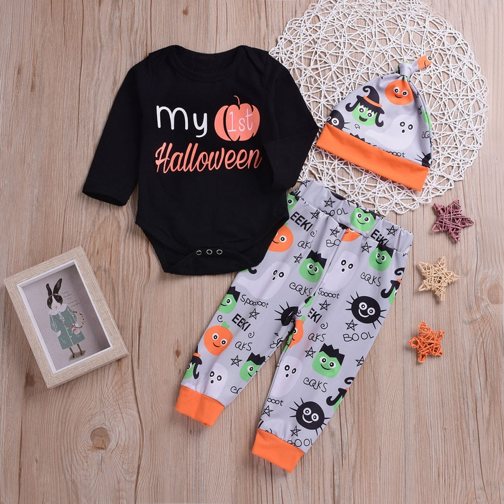 2018 New Soft 3PCS Halloween Kids Baby Letter Print Romper+Cartoon Print Pants+Hat Comfortable Set Outfit Baby Clothing set-eosegal