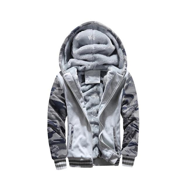 Bomber Jacket Men Plus Velvet Thick Fleece Camouflage Hoodie Men Fur Coateosegal-eosegal