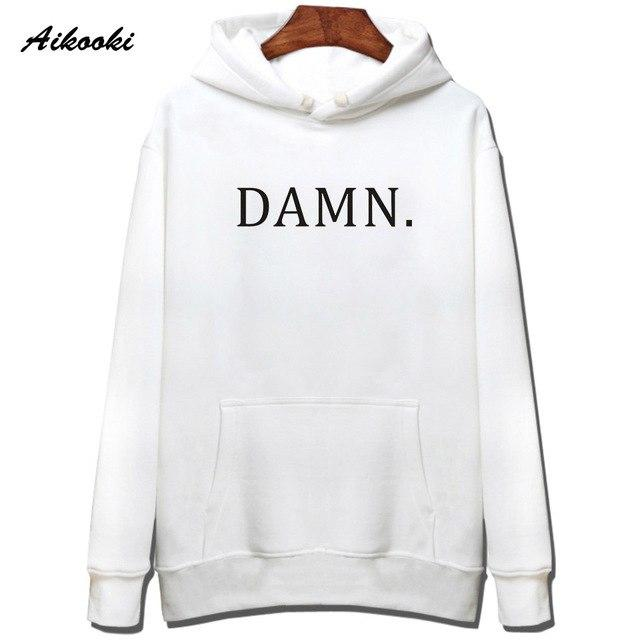 2018 Aikooki DAMN Hoodies Men/women White Cotton Harajuku Sweatshirt men/women Fashion DAMNeosegal-eosegal