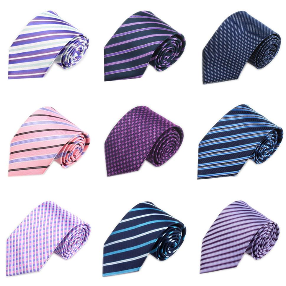 New Wedding Neckties For Men Purple Business Gravatas Slim Red Striped Corbataseosegal-eosegal