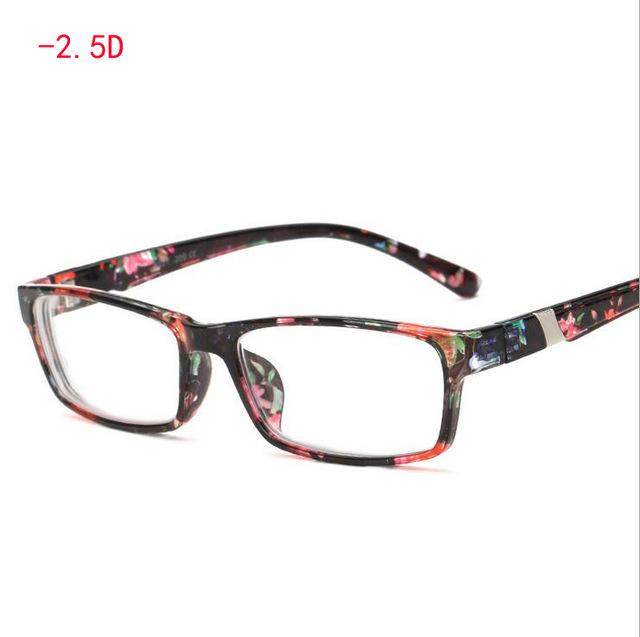 Retro Square Eye Glasses Finished Flower Legs Red Myopia Glasses Eyewear -100eosegal-eosegal