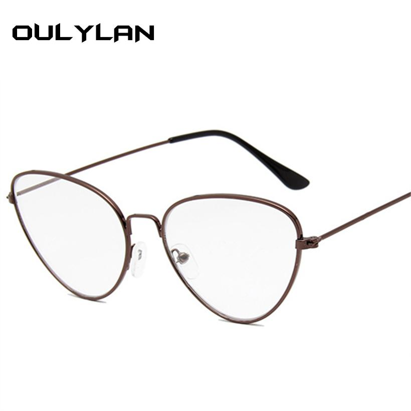 Women Men Metal Glasses Frame Cat Eye Clear Lens Glasses Brandeosegal-eosegal