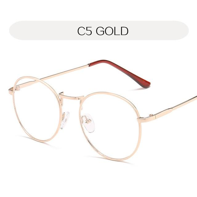 YOOSKE Round Clear Glasses Frame Woman Vintage Transparent Optical Eyeglasses Frames Goldeosegal-eosegal
