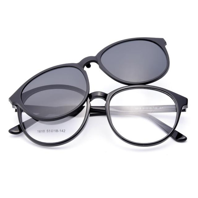 1618 Urltra-Light TR90 Eyeglasses Frame with Polarized Clip-on Sunshades for Womeneosegal-eosegal