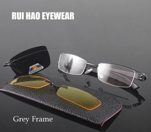 Half Rimless Eyeglasses Frame Men Eyewear Frame 2PCS Magnetic Polarized Sunglasses Clipeosegal-eosegal