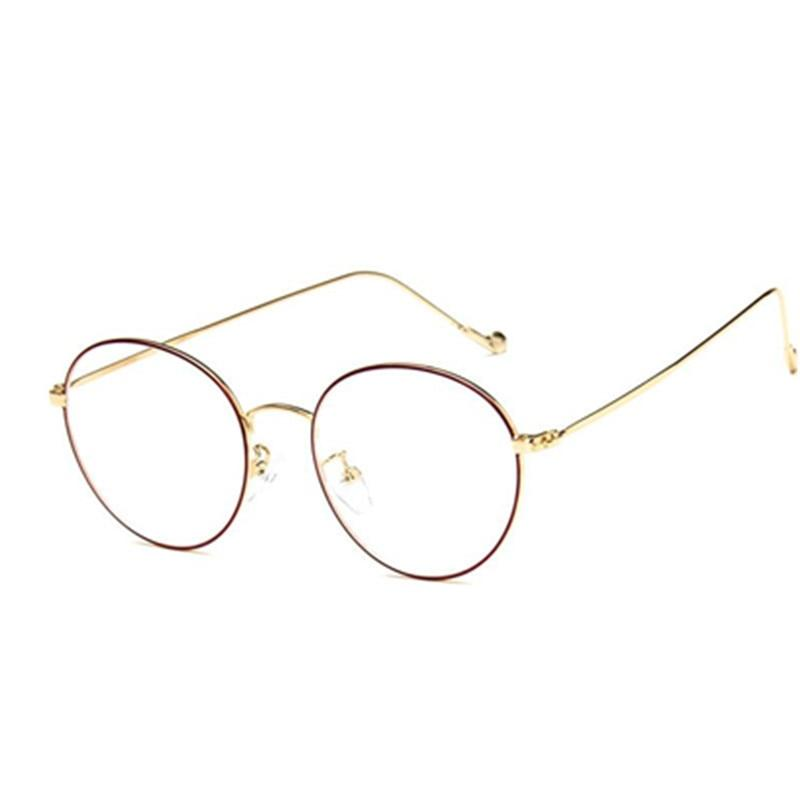 fashion small round nerd glasses clear lens unisex gold round metal frameeosegal-eosegal