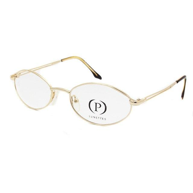 Women Oval Gold Frame Glasses Men Stainless Steel Optical Frame Full Rimeosegal-eosegal