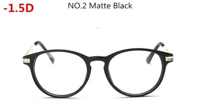 '-0.5~-6.0 Matte Black with Diopter Glasses Finished Myopia Glasses Women Men -50eosegal-eosegal