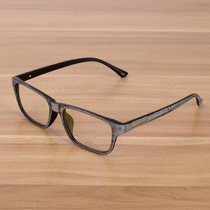 Retro Eyeglasses Optical Frames With Clear Lens Glasses Wooden Imitation Rectangle Woodeosegal-eosegal
