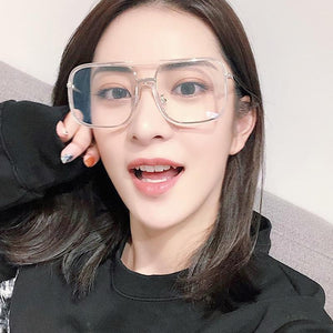LongKeeper 2018 Transparent Square Glasses Frame Women Black Lens Clear Designer Largeeosegal-eosegal