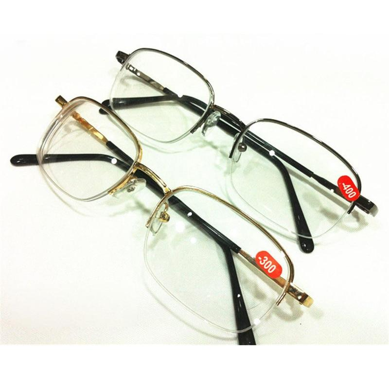 Gold Gray Unisex Metal Half Frame Reading Myopia Glasses Diopter -1.00 -1.50eosegal-eosegal