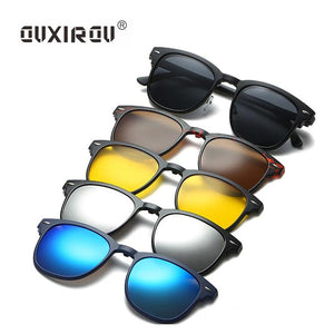 Fashion Eyeglasses Frames Men Women With 5 Clip On Sunglasses Polarized Magneticeosegal-eosegal