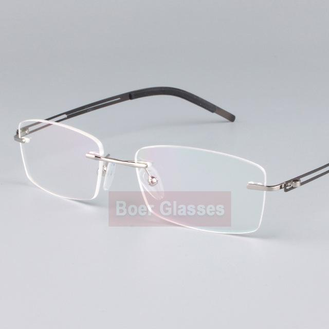 Stainless Steel Eyeglasses Men Frames Rimless Glasses Myopia Spectacle Optical Prescription Oculoseosegal-eosegal