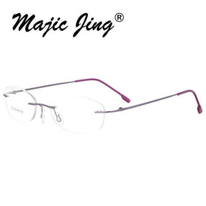 Memory Metal Spectacles Eyeglasses hinged Rimless for Women Myopia Prescription Glasses Meneosegal-eosegal