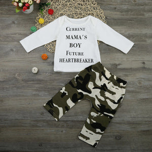 Baby Boy Clothes Suits Newborn Kids Baby Boys Outfits Clothes Letter T-shirt Tops+Camouflage Pants Set Moda Infantil#LSJ-eosegal