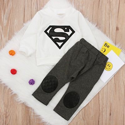 2018 Summer Boys and Girls Baby Suit Superman&Batman Cartoon Baby Clothes Long Sleeve Suit for Twins-eosegal