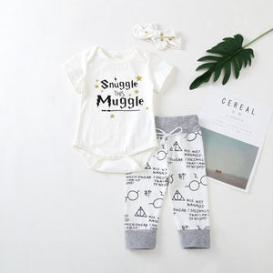 Summer Newborn Baby Girls Clothes 2018 New Arrival Snuggle This Muggle Tops+Pants 3pcs Outfit Infant Babe Boy Clothing set-eosegal