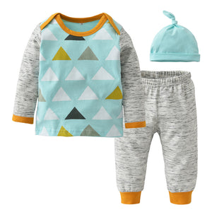Autumn baby boy clothes baby girl clothing set fashion cotton long-sleeved t-shirt+pants+hat newborn infant 3pcs suit-eosegal
