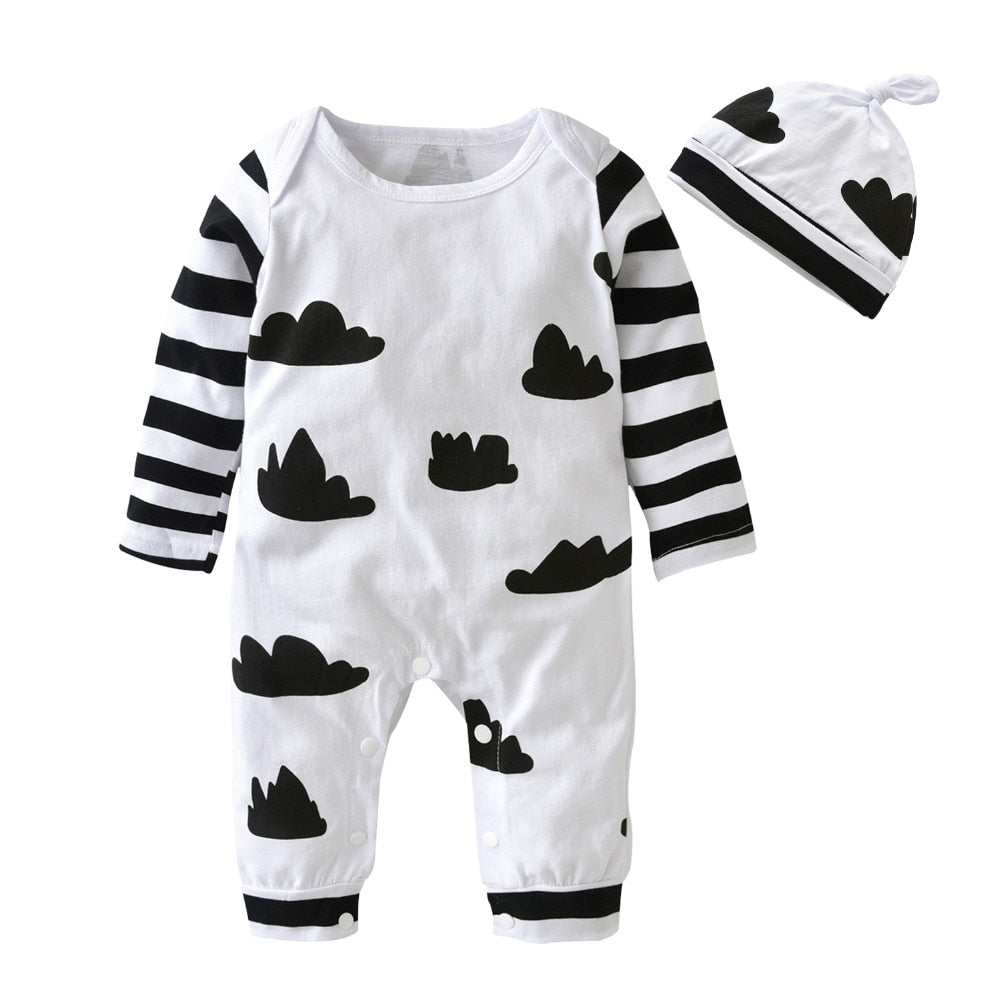 2018 Autumn style Baby Boy Girl Rompers Long Sleeve Cartoon Clouds Infant Jumpsuit+Hat 2Pcs Casual Outfit Newborn Baby Clothes-eosegal