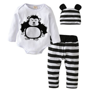 3Pcs/Set 2018 Hot Sale Baby Boys Girls Clothes Long Sleeve Cartoon Orangutan Baby Rompers+Stripe pants+Hat Infant Clothing Set-eosegal