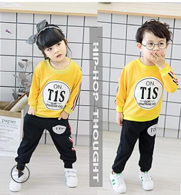 2017 New Baby Winter Sports Clothing Two Sets Baby Boys Clothes Newborn Girls Autumn Cotton Shirt Kids Long-sleeved Infant-eosegal