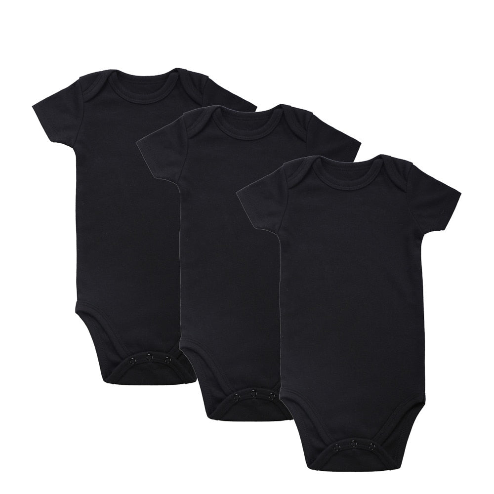 2018 Newborn Unisex tender Babies 100% Cotton 3-Pack Baby Brand Clothing Short Sleeve Plain Black Bodysuits Clothes Outfit 0-12M-eosegal
