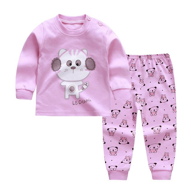 Newborn Baby Girls Clothes Set Cartoon Long Sleeved Tops + Pants 2PCS Outfits Boys Kids Clothing Childrens Pajamas Suits-eosegal