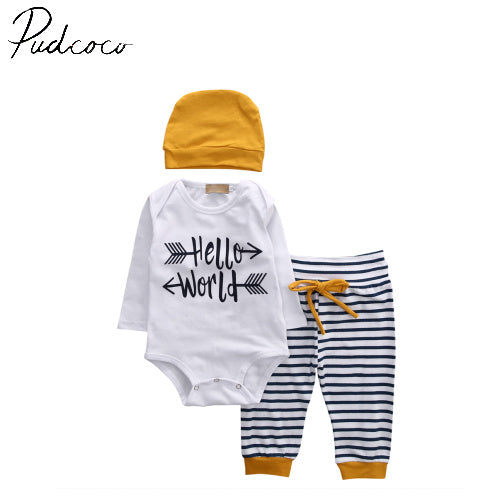 2018 Autumn Winter 2018 Newborn Baby Girls Boy Romper+ Striped Pants baby boy clothing hot-eosegal