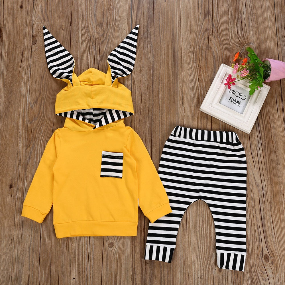 MUQGEW Fashion baby clothes set winter clothes for children 2PCs Striped Hooded T shirt Tops+Pants newborn baby boy roupas meni-eosegal