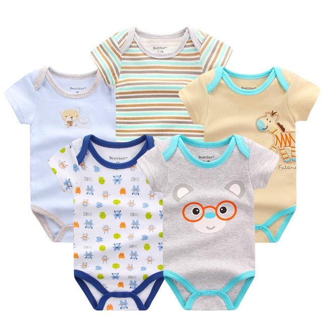 5 PCS/LOT Baby Rompers Summer Baby Clothing Set Cartoon Romper Infant Newborn Baby Boy and Girl Clothes Overall Jumpsuit-eosegal