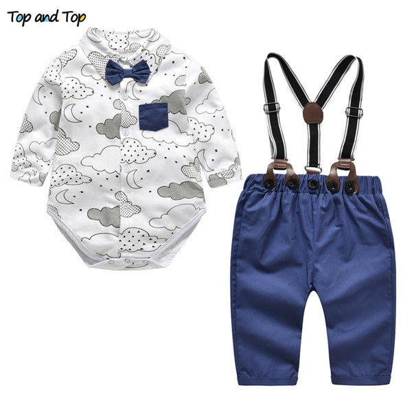 Top and Top spring baby clothes baby clothing set autumn long sleeve cotton bow tie baby rompers+pants 2pcs toddler clothes set-eosegal