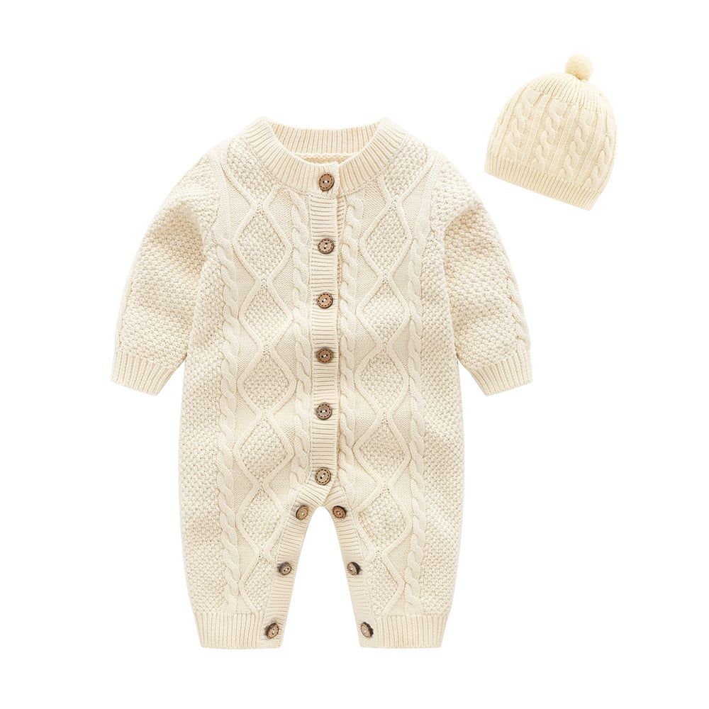 new born baby clothes,Beige Baby Knit Romper with Hat, baby onesie baby winter jumpsuit baby costume-eosegal