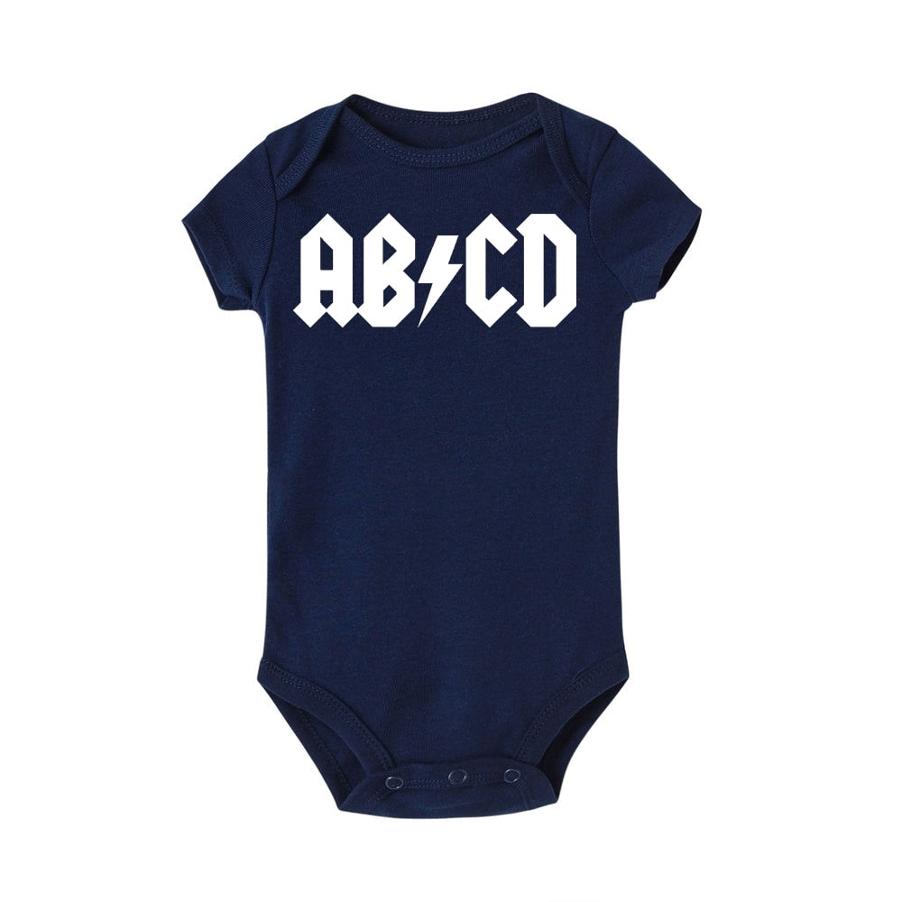 Funny ABCD Letter Print Infant Clothes Rock Acdc Baby Clothes Newborn Boy Girls Ac Dc Romper Jumpsuit Clothing Outfits Ac/dc-eosegal