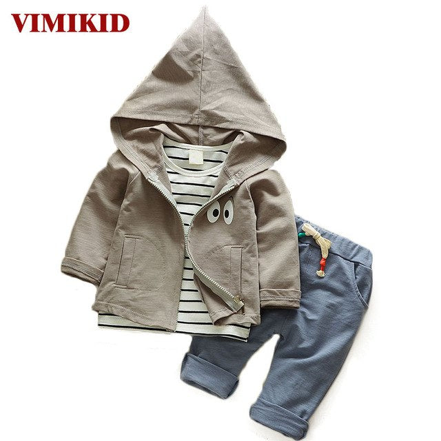 baby clothing set cotton autumn hoodies + pants + t-shirt 3 pieces children outerwear kids clothes suit 2 years newborn outfits-eosegal
