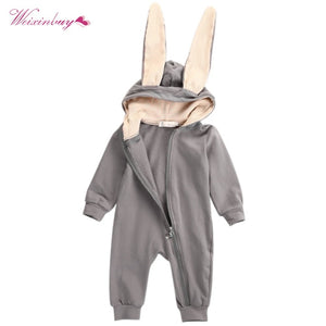 WEIXINBUY 2018 Spring Autumn Baby Children Rompers Cute Rabbit Design Baby Bunny Romper Hooded Boys and Girls One-piece Suits-eosegal