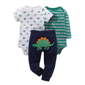 2018 new infant baby boy clothes cotton green stripe romper dinosaur model+pants 3pcs cute newborn baby girl outfit costume-eosegal